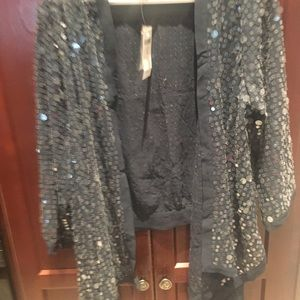NWT Chico's Sequin Blue Open Jacket size 1